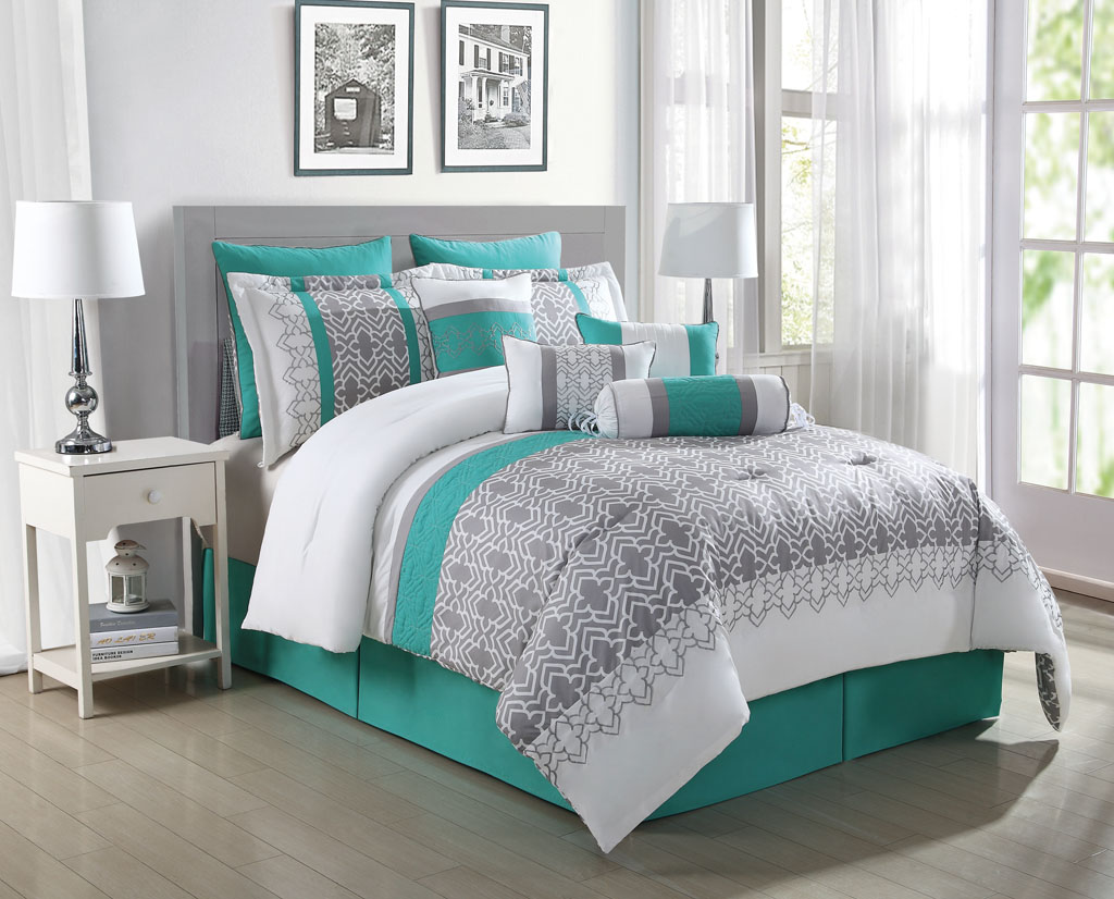10 Piece Luna Teal/Gray/White Reversible Comforter Set