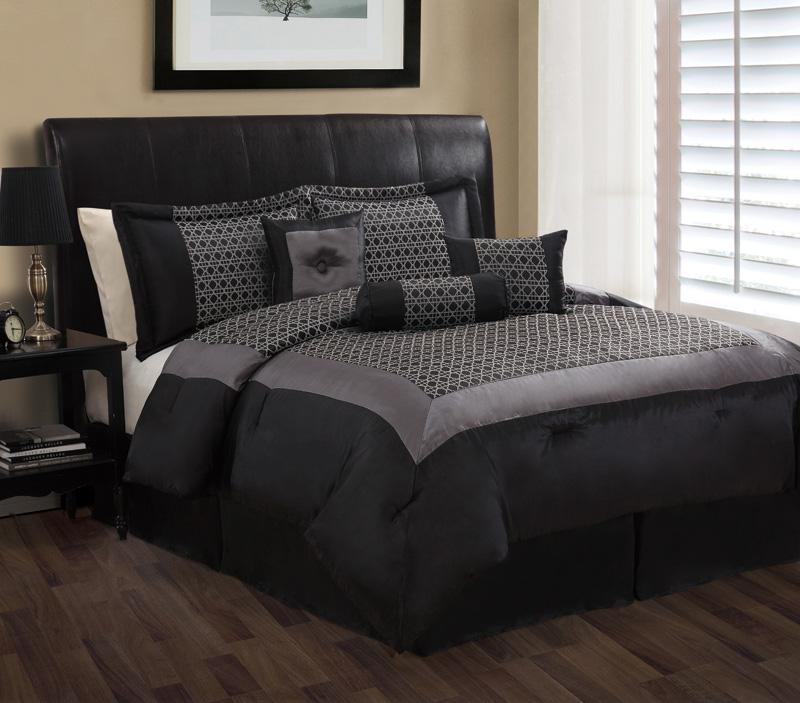 7 piece queen maximillian black and gray comforter set. Black Bedroom Furniture Sets. Home Design Ideas
