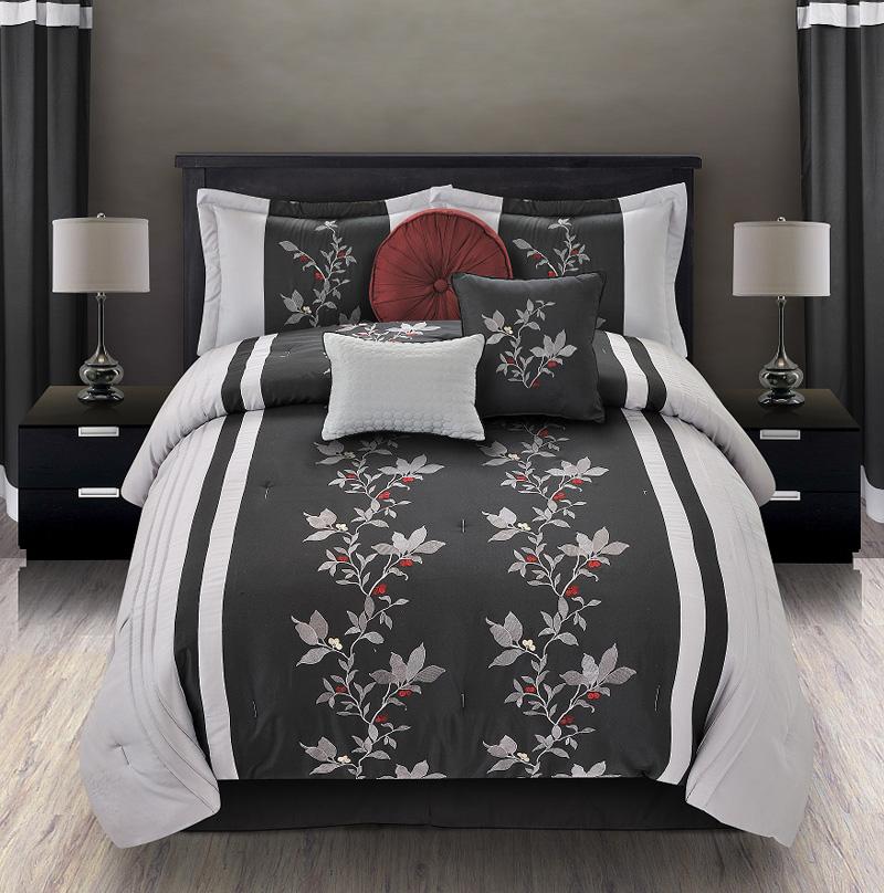 7pcs queen mia embroidered comforter set black gray ebay. Black Bedroom Furniture Sets. Home Design Ideas