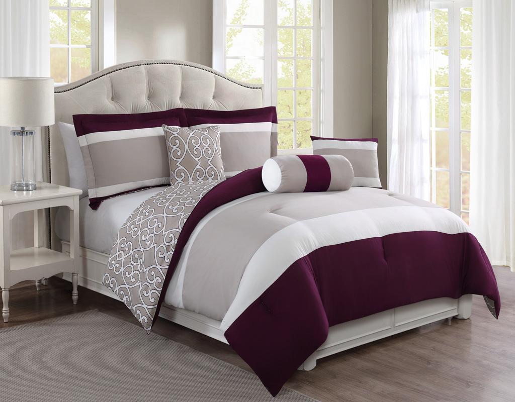 6 Piece Nayomi Black/Red Reversible Comforter Set