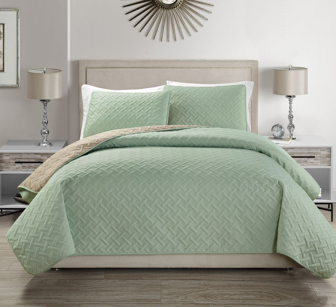 Embossed Reversible Bedspread Quilt Set Ebay