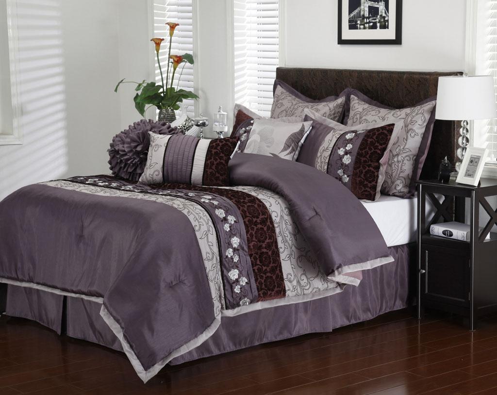 13 piece cal king riley purple bed in a bag set. Black Bedroom Furniture Sets. Home Design Ideas