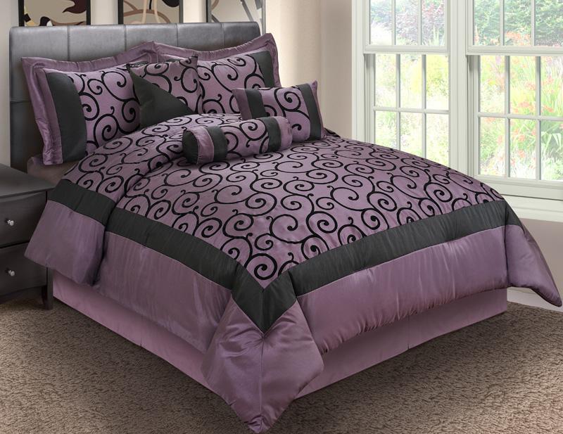 7Pcs King Robbin Purple And Black Comforter Set