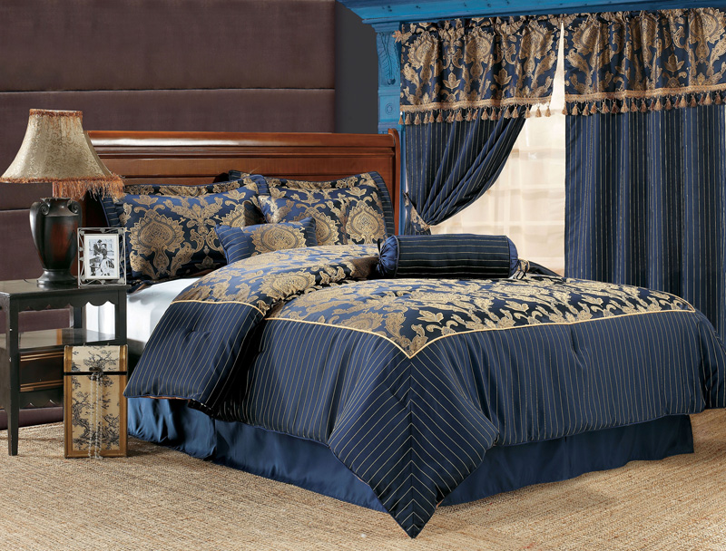 7pcs Queen Royal Floral Bedding Comforter Set Navy Ebay