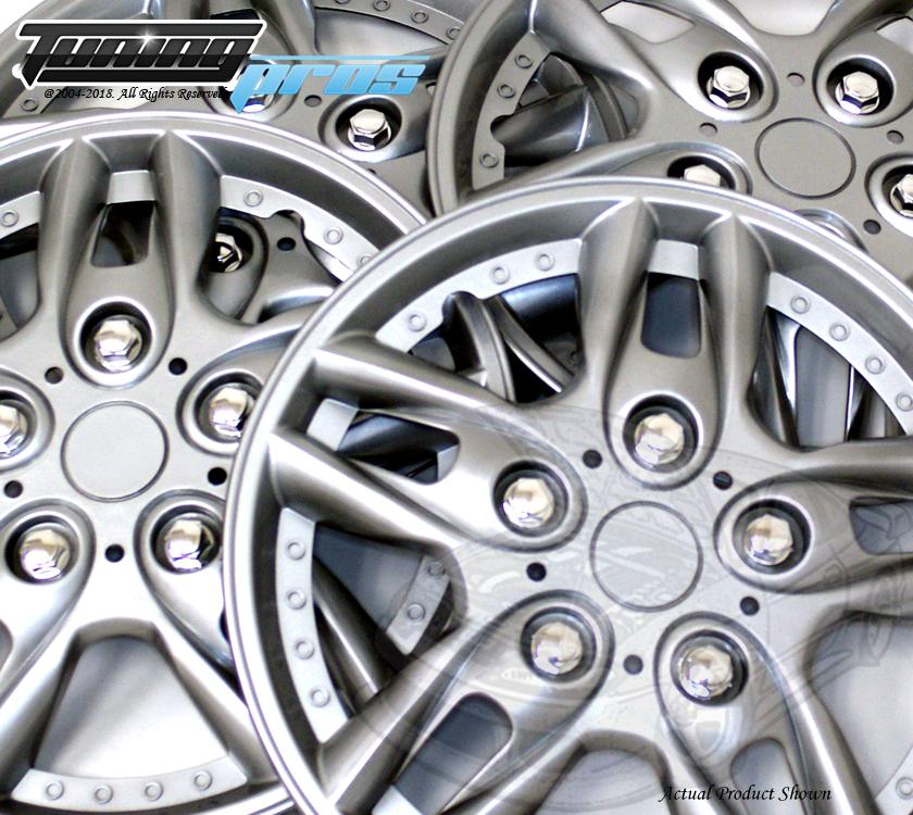 "Wheel Cover Replacement Hubcaps 14/"" Inch Metallic Silver Hub Cap 4pcs Set #004"