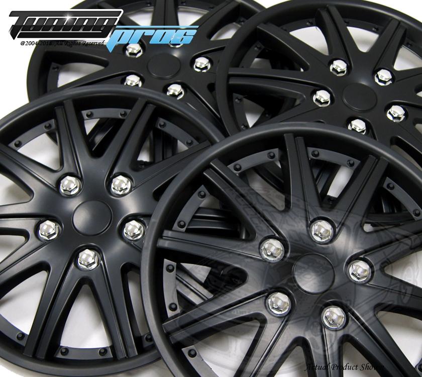 "14/"" Matte Black Style#027 4pc Set 14 inch Wheel Rim Skin Cover Hubcap Hub caps"