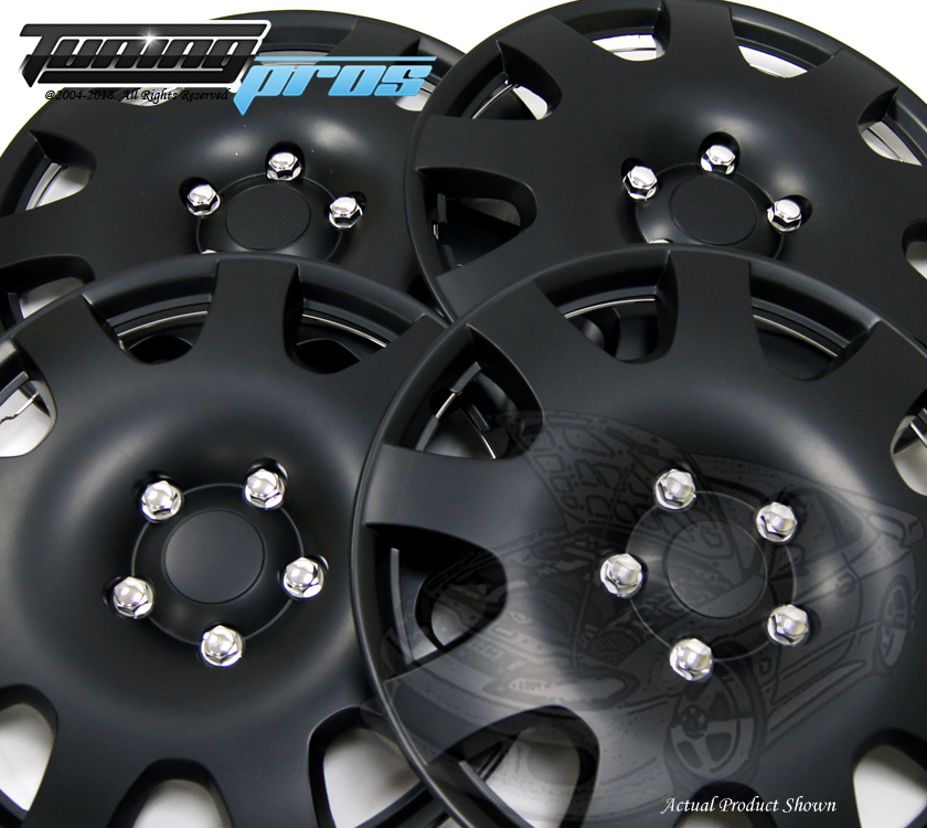 "Style 025 16/"" Hubcap Matte Black 4pcs Qty 4 Wheel Cover Rim Skin Cover 16/"" Inch"