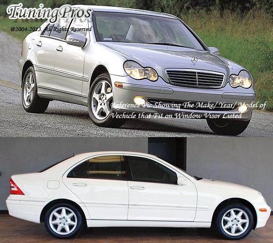 Dark Smoke Outside Mount Rain Guard 4pcs Mercedes-Benz C240 C320 C230 2001-2007
