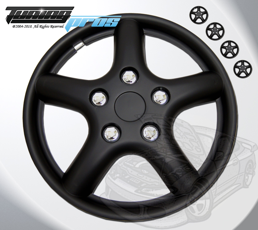 TuningPros WSC-028BB15 Hubcaps Wheel Skin Cover 15-Inches Matte Black Set of 4