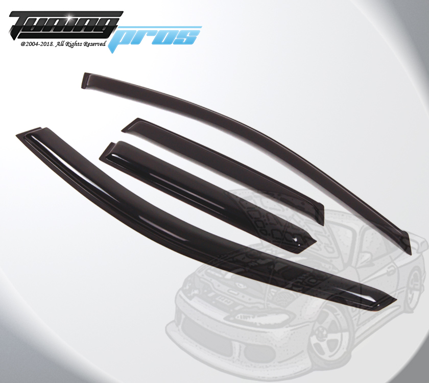 Dark Smoke Rain Visor Deflector 4pcs Out-Channel For Acura