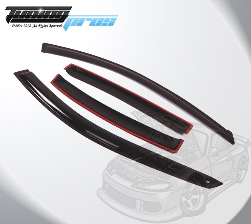 Dark Smoke Rain Visor Deflector 4pcs Out-Channel For Acura