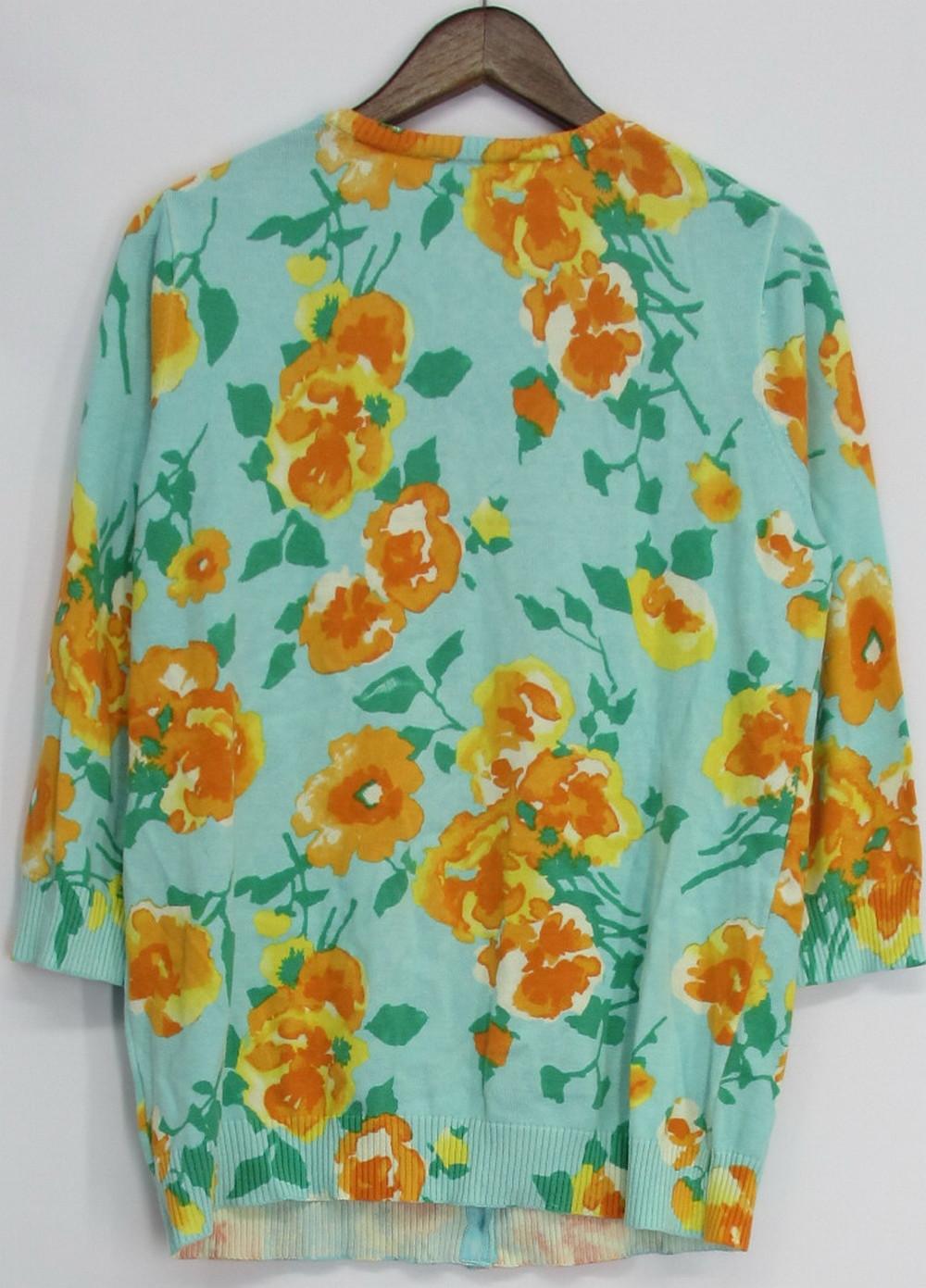 Isaac Mizrahi Live Sz L Crew Neck Pansy Print Cardigan Turquoise New