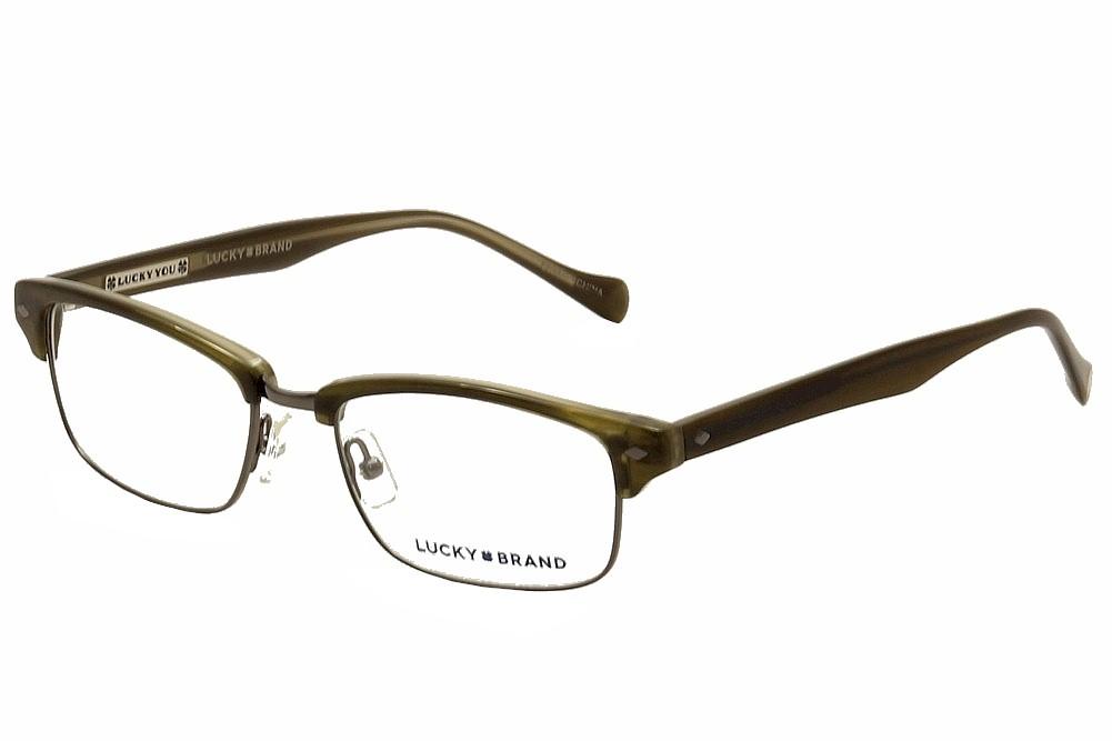 Lucky Brand Men\'s Eyeglasses Emery Olive Horn/Gunmetal Optical Frame ...