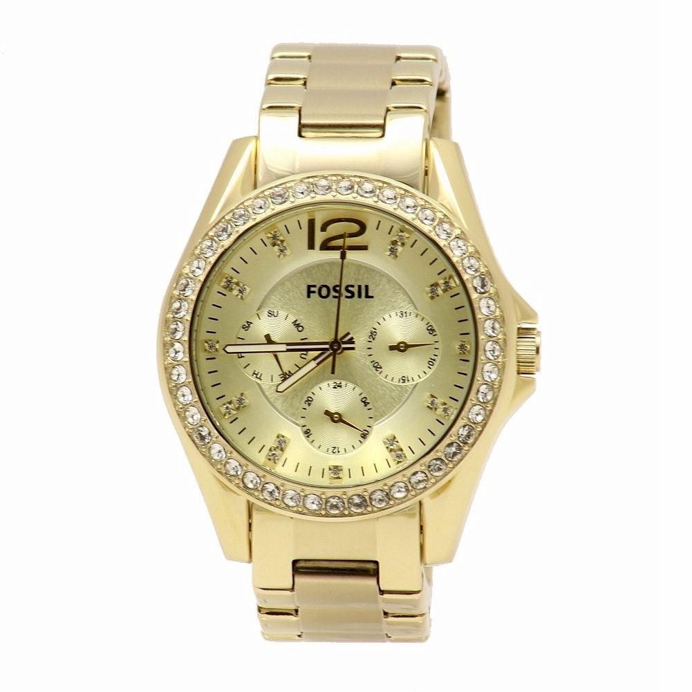 Detalles de Reloj Cronógrafo Fossil Mujer Riley ES3203 Dorado de cristales de Swarovski ver título original