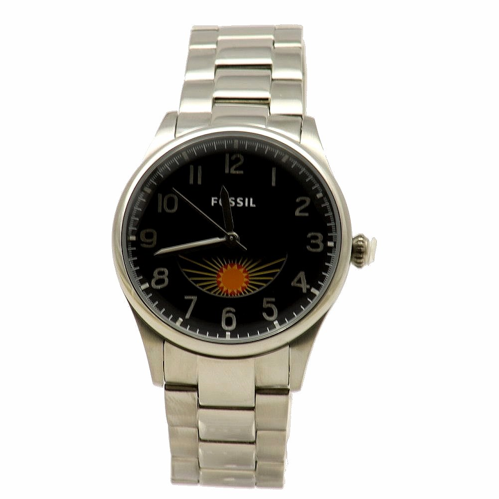 cbb915b6d0ec Fossil Men s The Agent FS4848 Moonphase Silver Stainless Steel ...