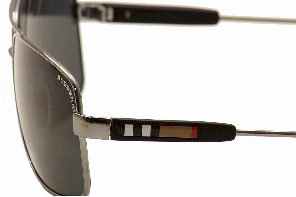 aa7de82f32e6 Burberry Men s BE3074 BE 3074 1003 87 Gunmetal Pilot Sunglasses 63mm ...