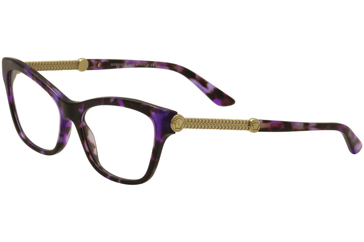 8c84208e3b Versace Eyeglasses VE3214 VE 3214 5152 Violet Havana Cat Eye Optical ...