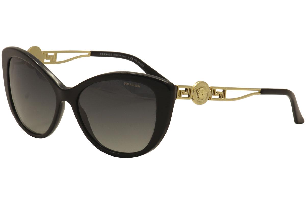 a31a29937de Versace Women s VE4295 4295 GB1 T3 Black Gold Cat Eye Polarized ...