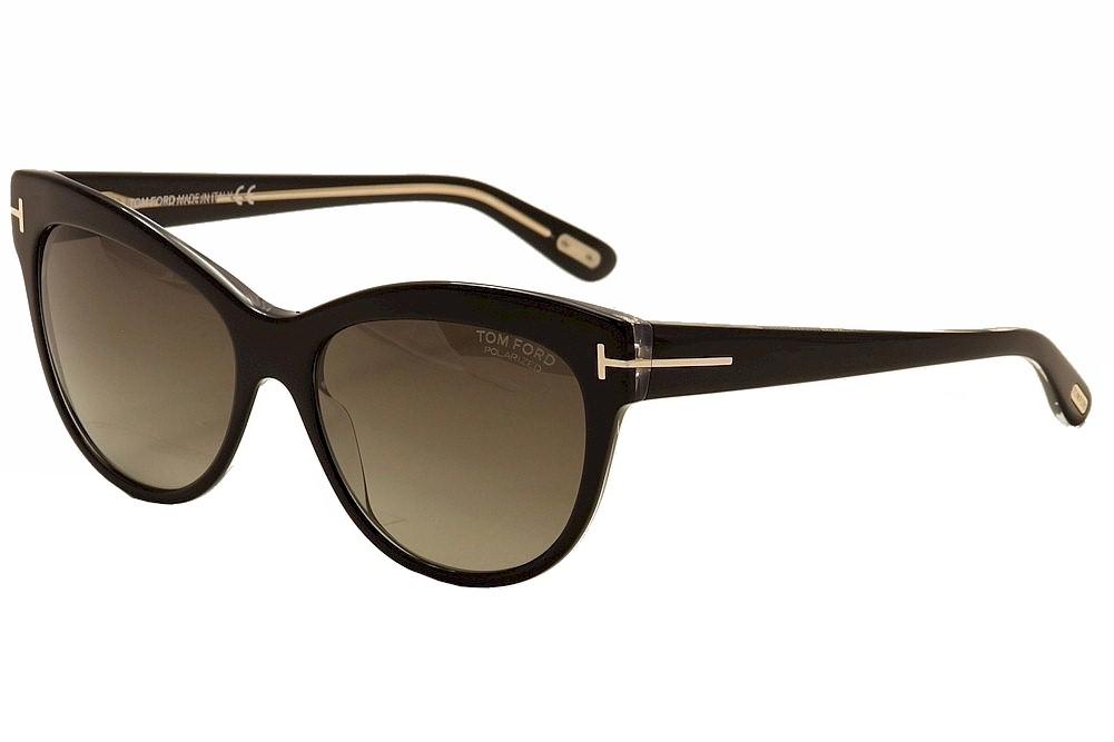 8c2693b3d4 Tom Ford Women s Lily TF430 TF 430 05D Black Polarized Cateye ...