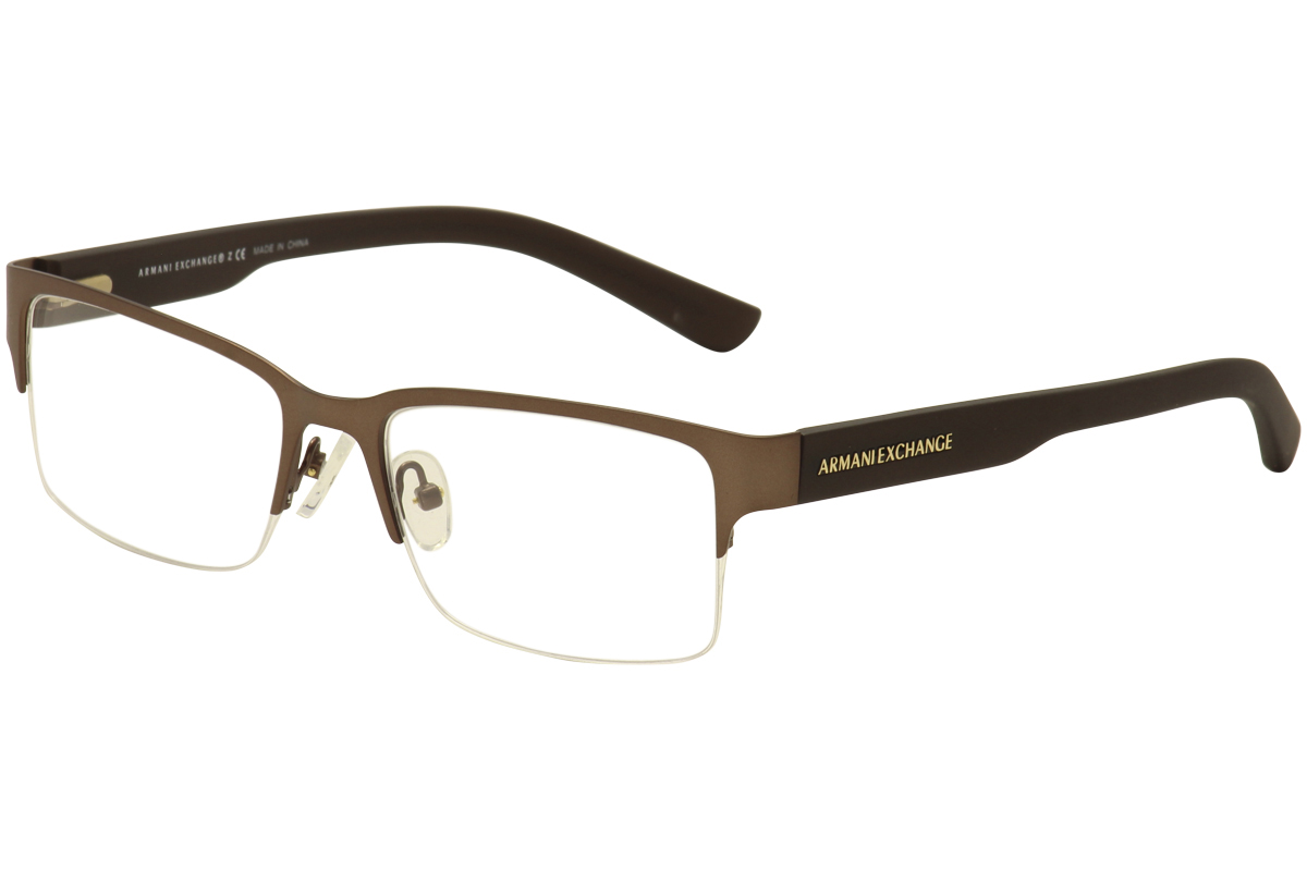 Armani Glasses Half Frame : Armani Exchange Eyeglasses AX/1014 6058 Satin Brown Half ...