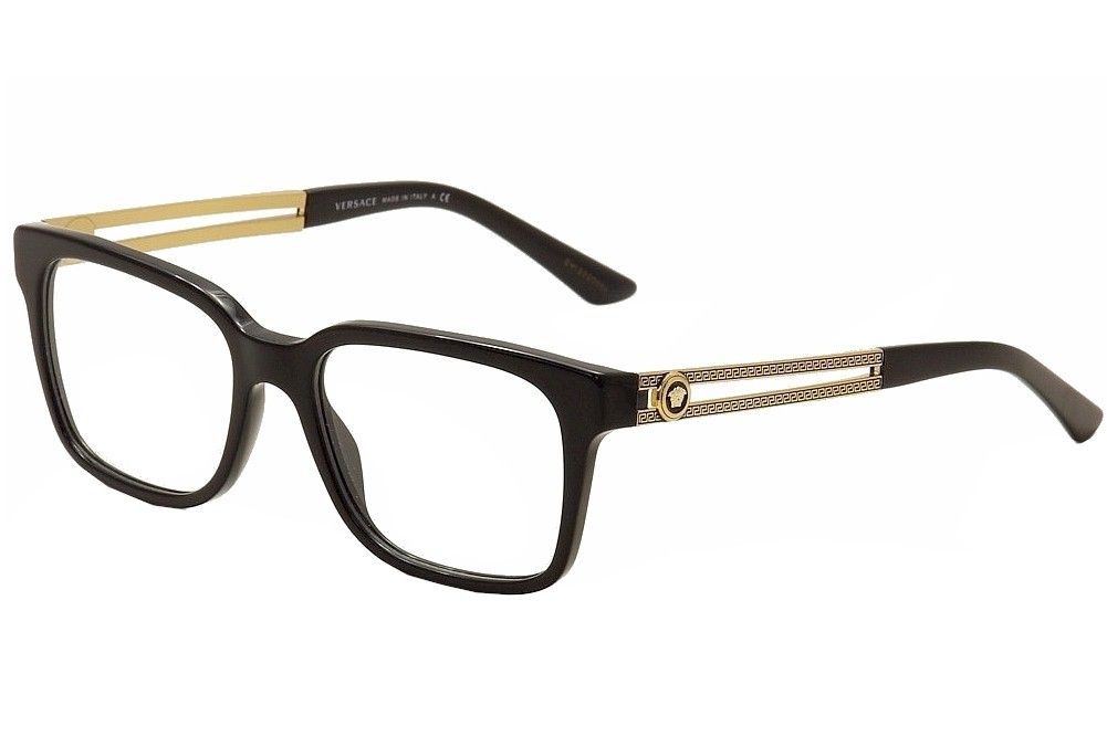 Versace Men\'s Eyeglasses VE3218 VE/3218 GB1 Black/Gold Optical Frame ...
