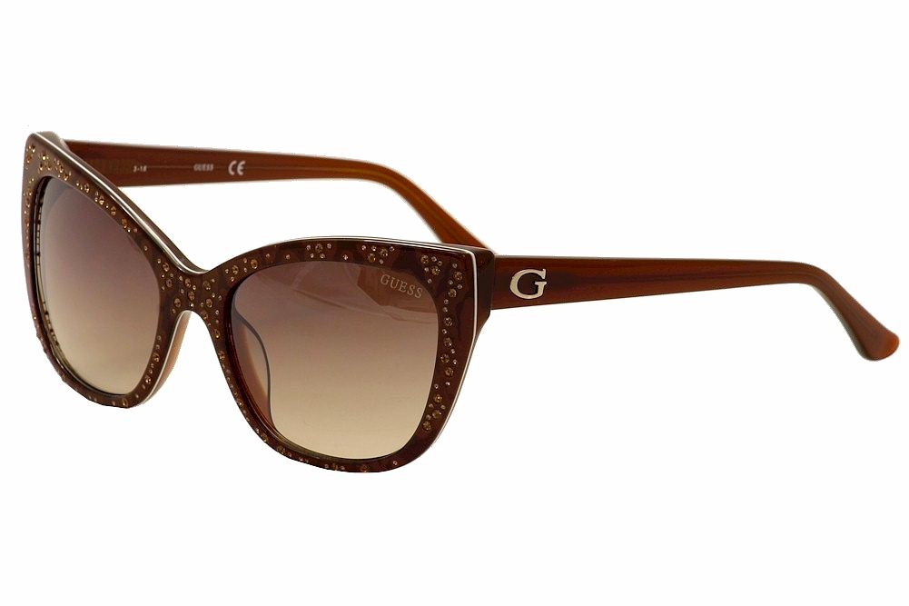 aeb31bb063c02 Guess Women s GU7438 GU 7438 50F Brown White Gold Cat Eye Sunglasses ...