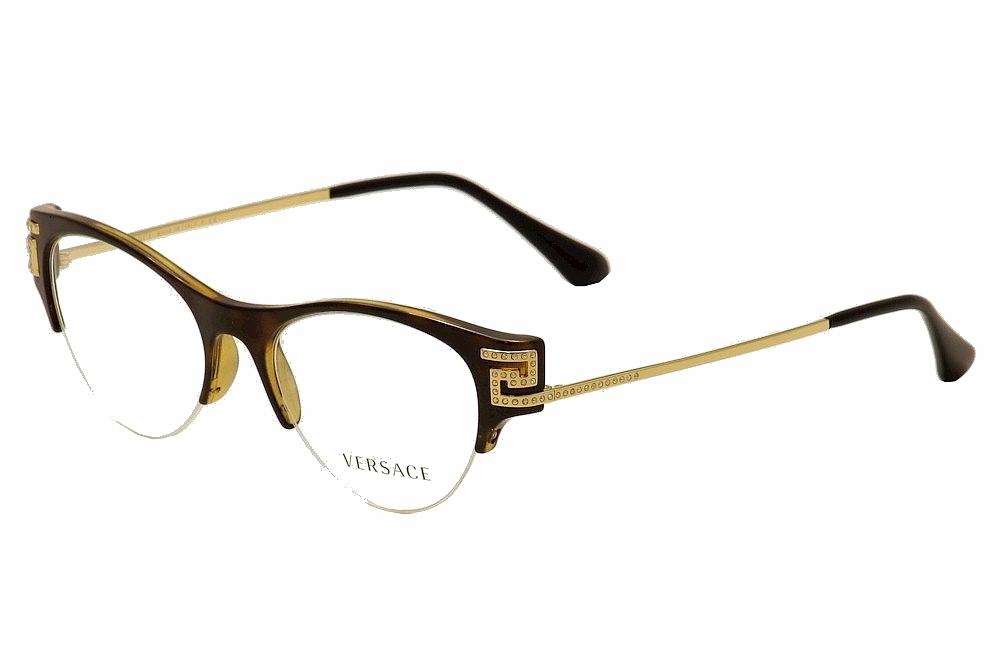 fa37e6b7f1dd Versace Eyeglasses VE 3226B 3226/B 108 Havana/Gold Half Rim Optical ...
