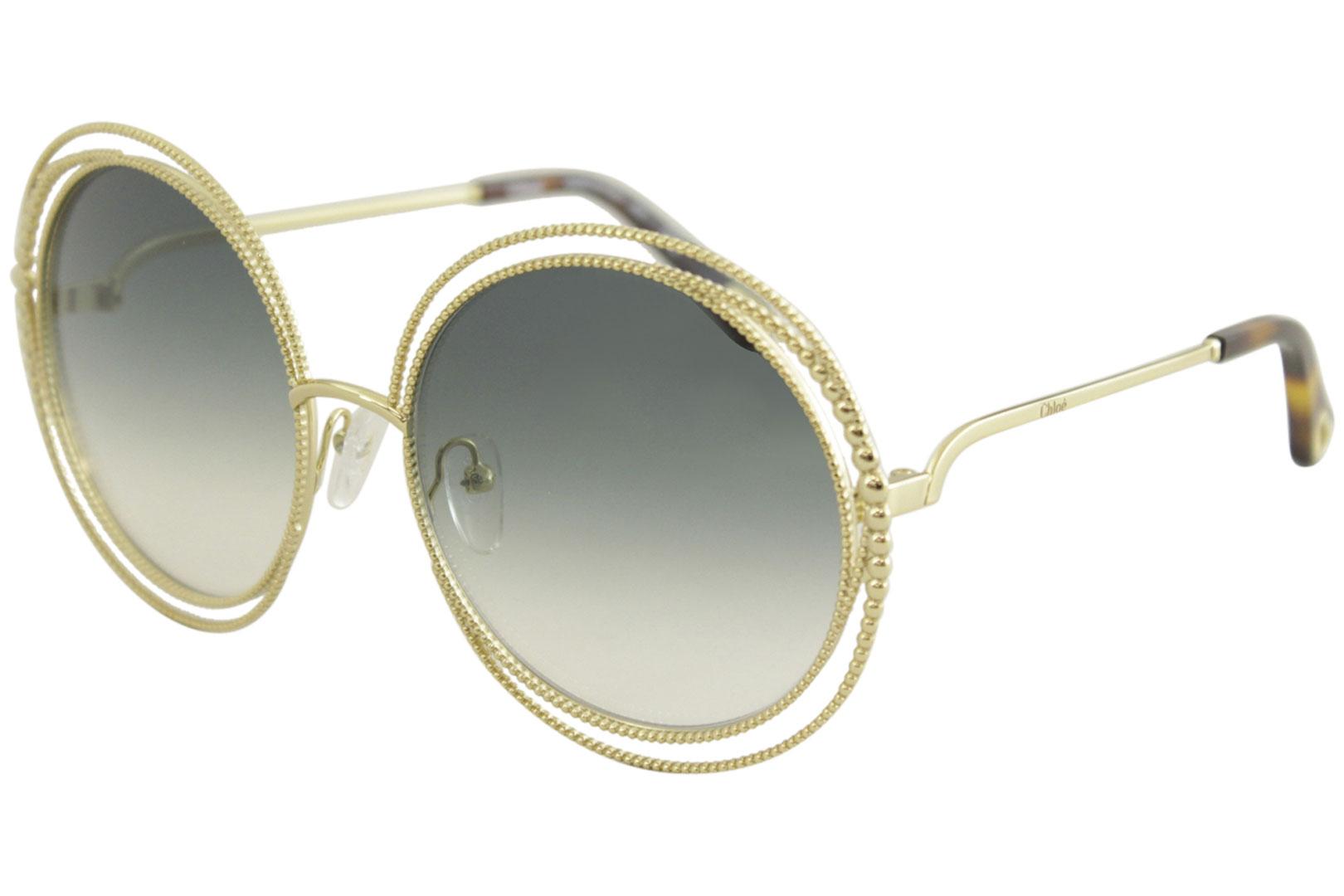 aa5dde14d6ea7 Chloe Women s CE114SC CE 114 SC 838 Gold Fashion Round Sunglasses ...