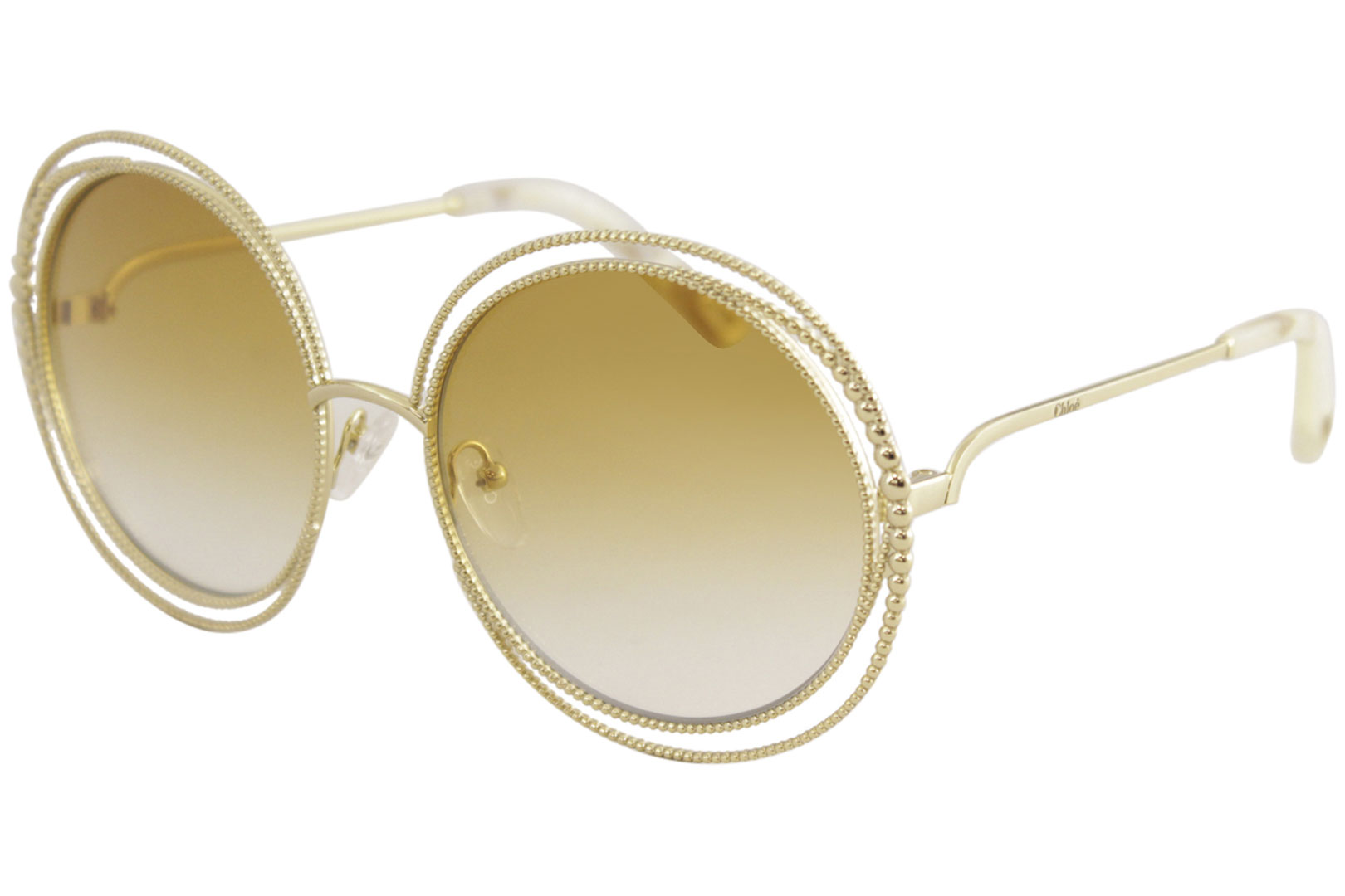 021274de35b0 Chloe Women s CE114SC CE 114 SC 837 Gold Fashion Round Sunglasses ...