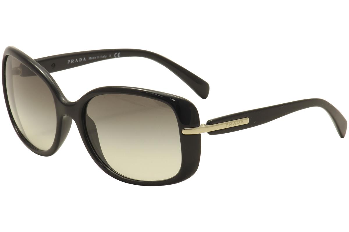 8e645deb36aa6 Prada Women s SPR 08O 08 O 1AB-0A7 Black Gold Fashion Sunglasses ...