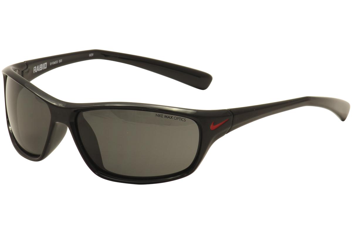 cd9f0e4b30 Nike Men s Rabid EV0603 EV 0603 001 Black Red Sport Sunglasses 63mm ...
