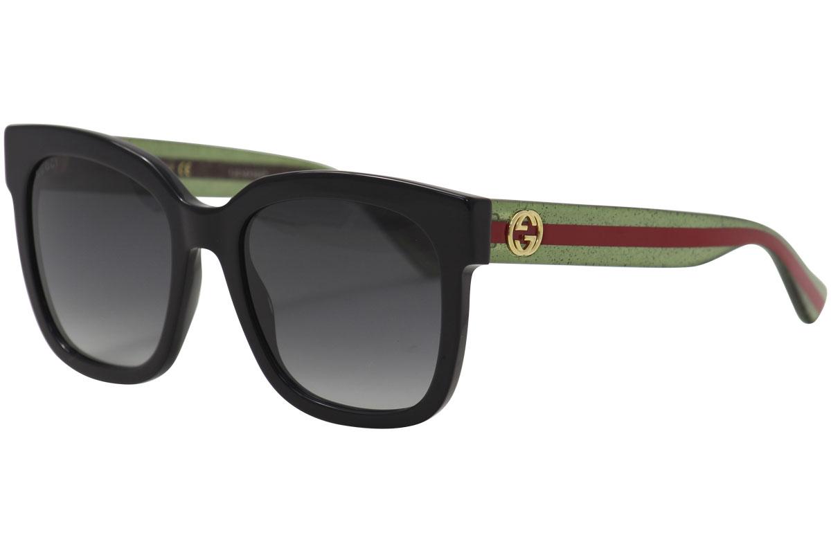 cf5a5e77414de Gucci GG0034S GG 0034 S 002 Black Green Glitter Red Square ...