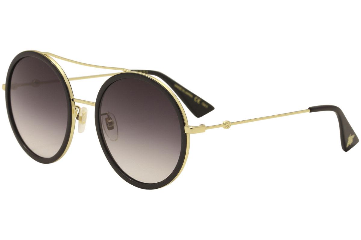 9753e543e6c Gucci Women s GG0061S GG 0061 S 001 Gold Black Round Sunglasses 56mm ...