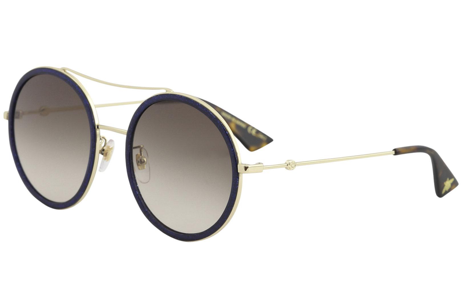 012b1272a7aa Gucci Women s GG0061S GG 0061S 005 Gold Navy Round Sunglasses 56mm ...