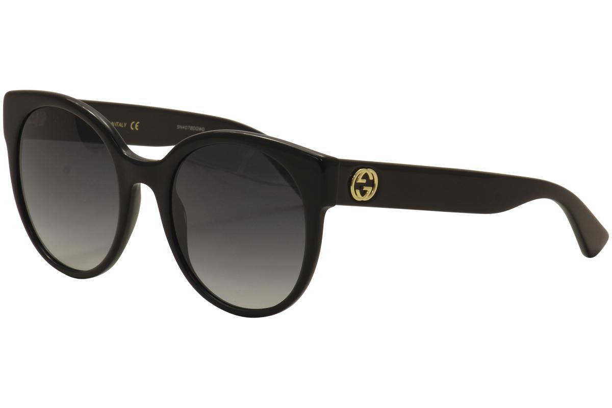 727ff75c7f2 Gucci Women s GG0035S GG 0035 S 001 Black Gold Fashion Sunglasses ...