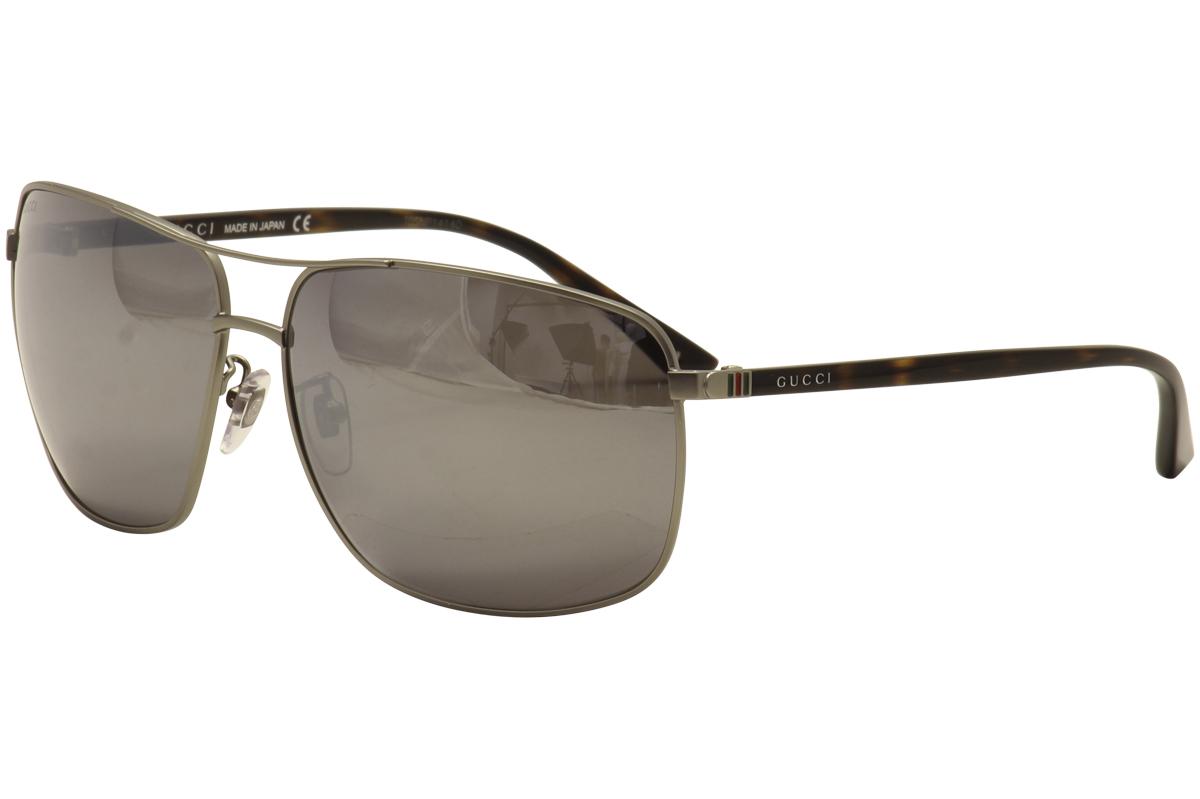Gucci Men's GG0065SK 002 Ruthenium/Havana Fashion Sunglasses