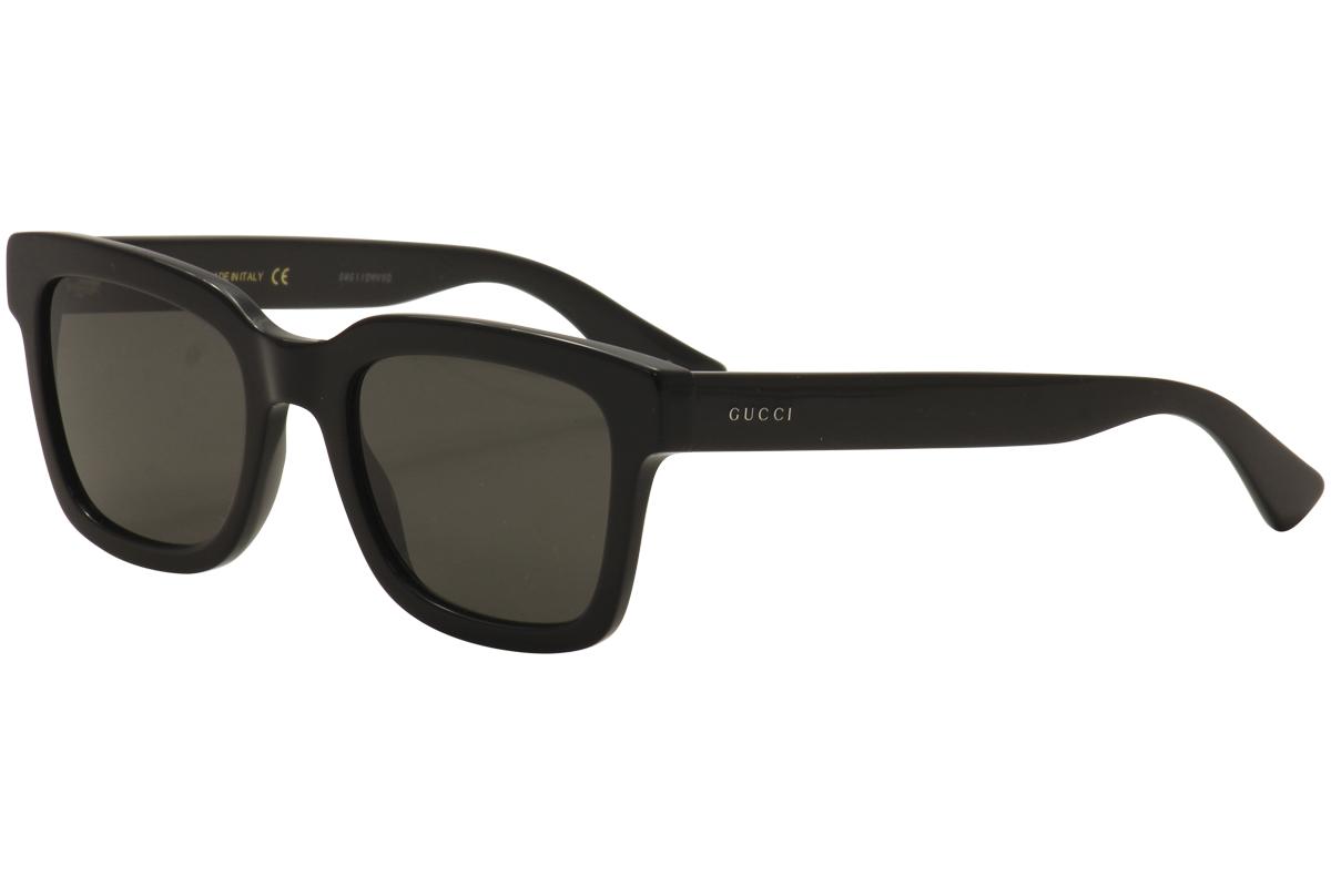 3c1d51584b7 Gucci Men s GG0001S GG 0001 S 001 Black Silver Fashion Sunglasses ...