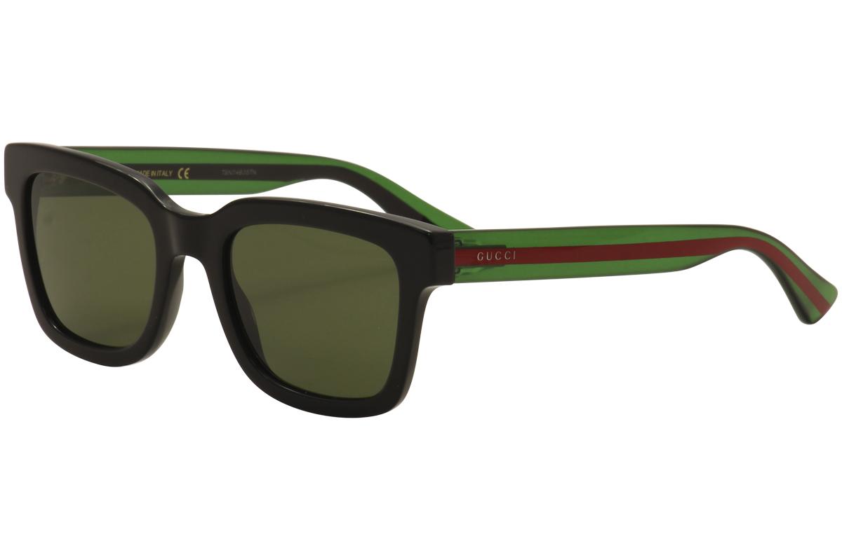 a5ffe853680 Gucci Men s GG0001S GG 0001 S 002 Black Green Red Sunglasses 52mm ...