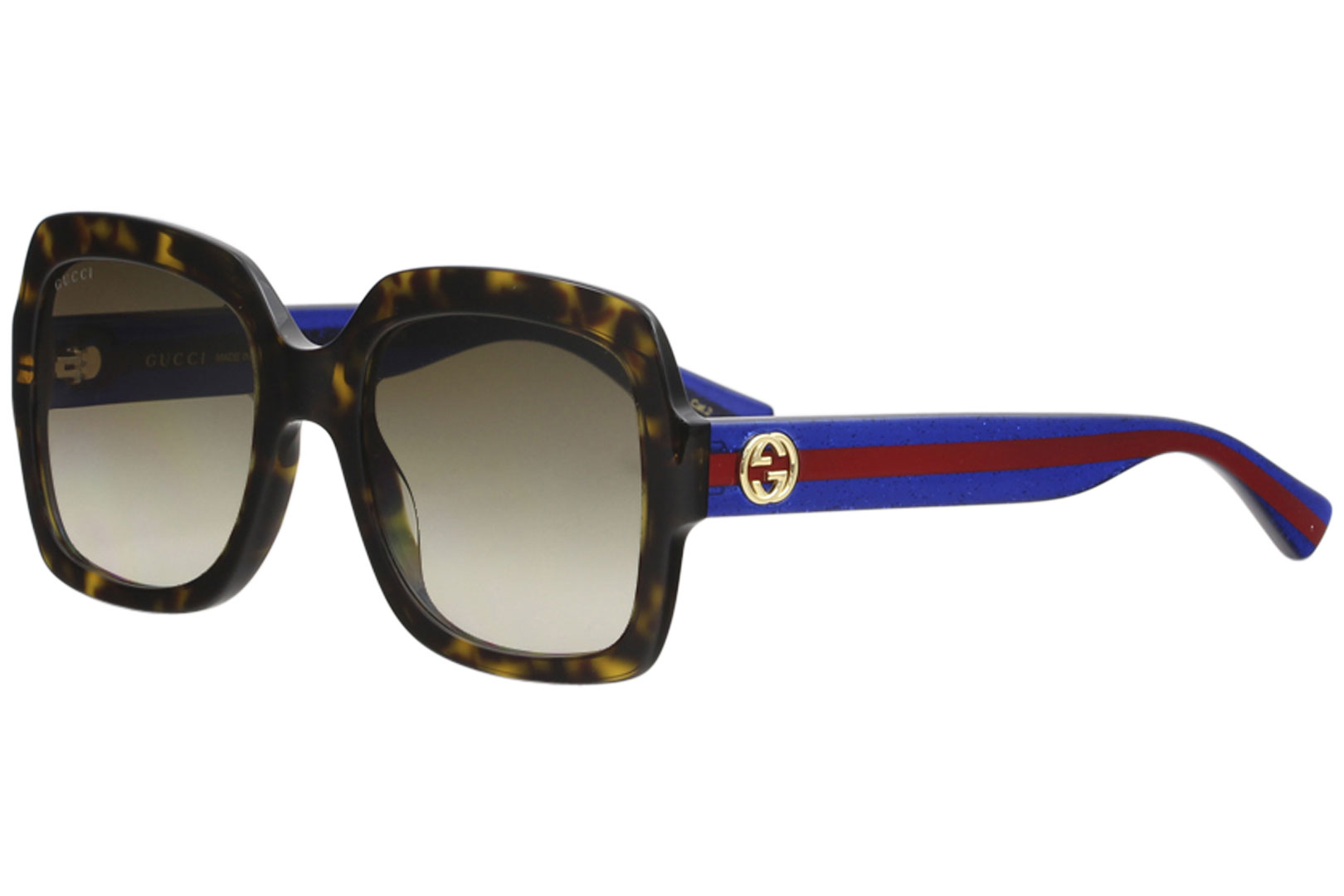 807b63e1b1f Gucci Women s GG0036S GG 0036 S 004 Havana Blue Red Sunglasses 54mm ...