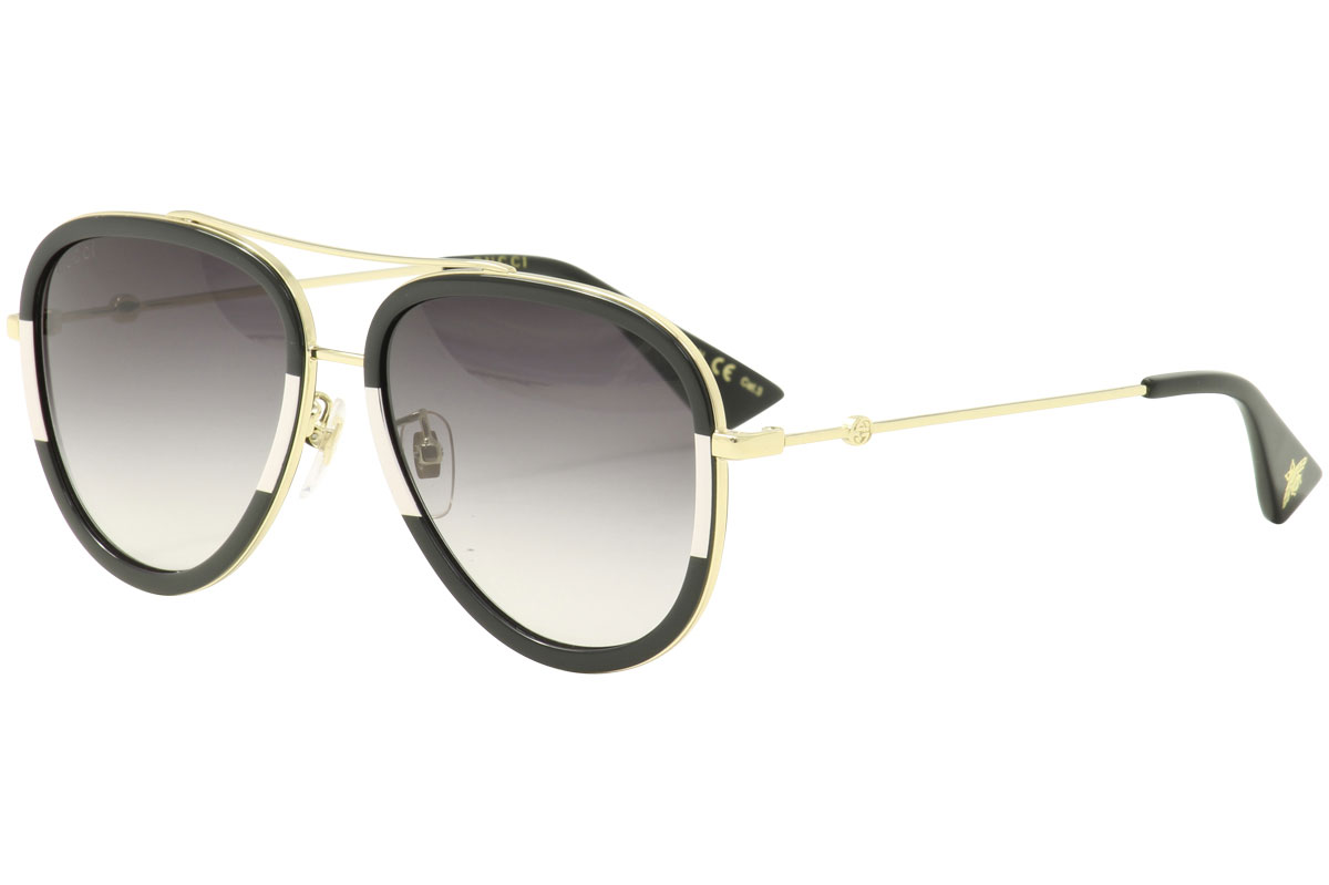 e89047c0cc Gucci Women s GG0062S GG 0062 S 006 Gold Black Pilot Sunglasses 57mm ...