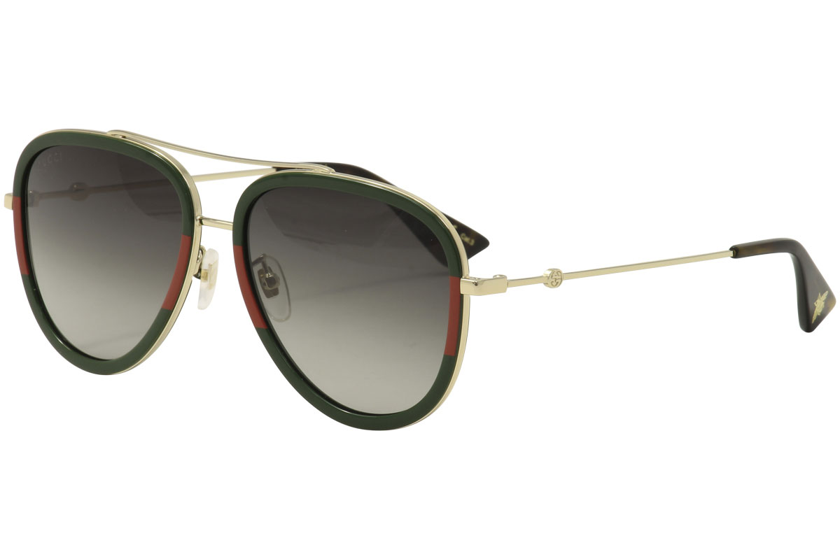ef4ac91763 Gucci Women s GG0062S GG 0062 S 003 Gold Green Red Pilot Sunglasses ...