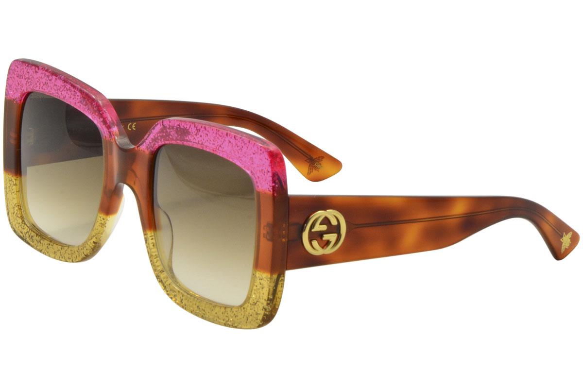 a218fdcb370 Gucci Women s GG0083S GG 0083 S 002 Fuchsia Havana Gold Square ...