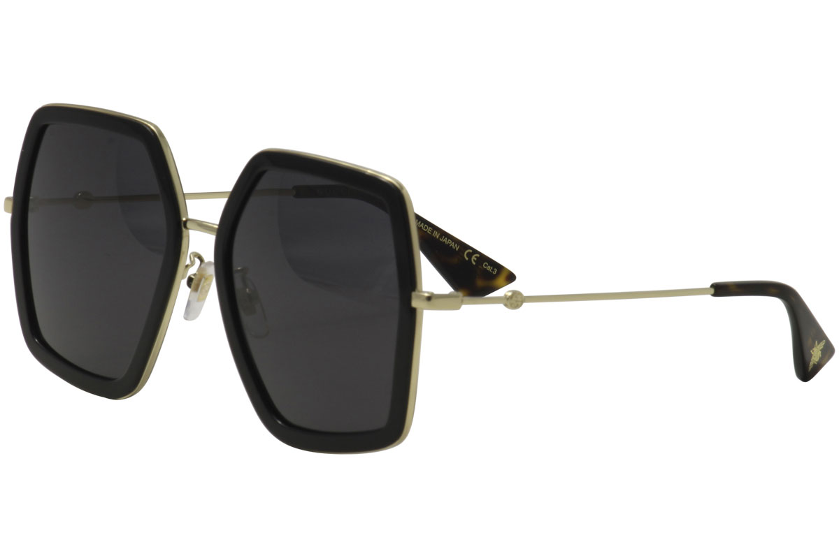 631a0f9ae799e Gucci Women s GG0106S GG 0106 S 001 Black Gold Square Sunglasses ...