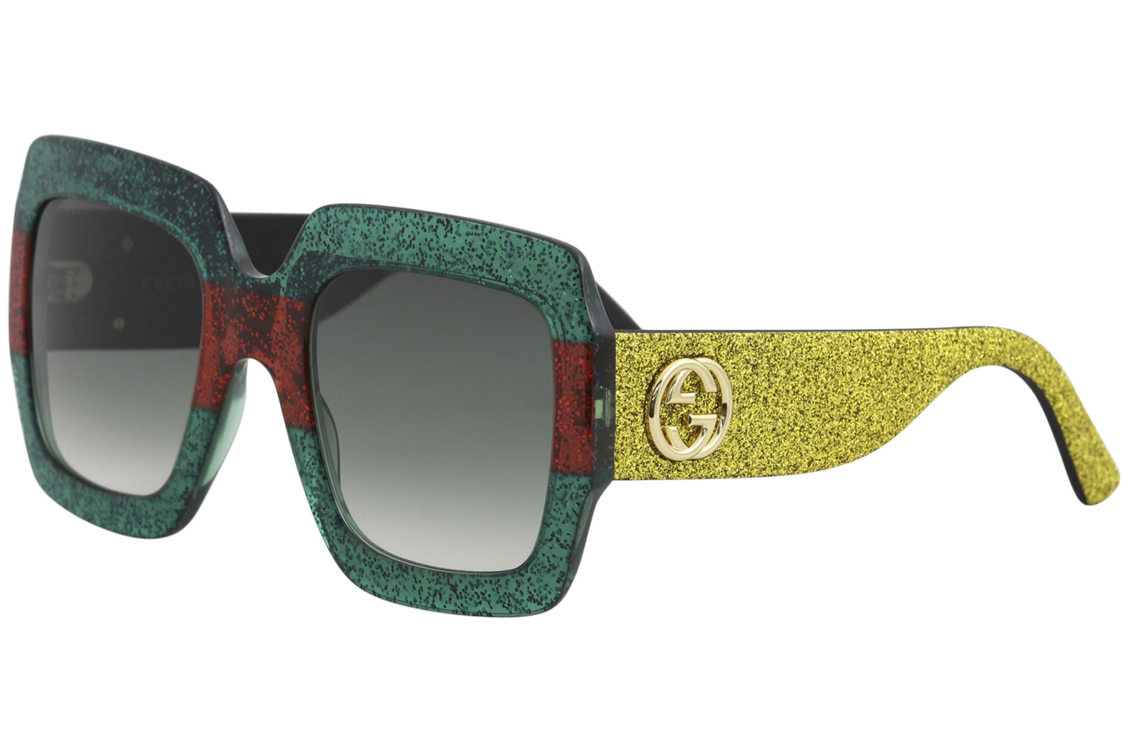 14a0ab19d4 Gucci Urban Collection GG0102S GG 0102 S 006 Green Red Glitter ...