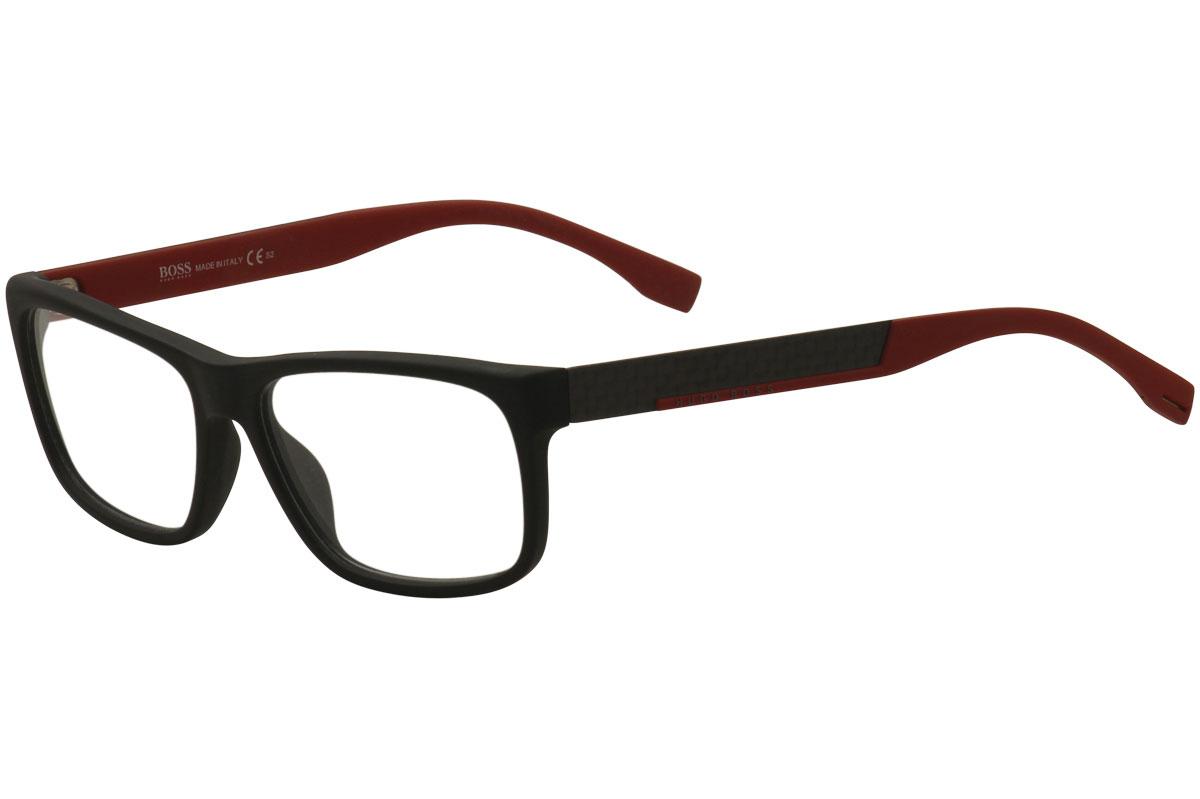 2d4f4547311 Hugo Boss Men s Eyeglasses 0643 HXA Matte Black Red Rectangle ...