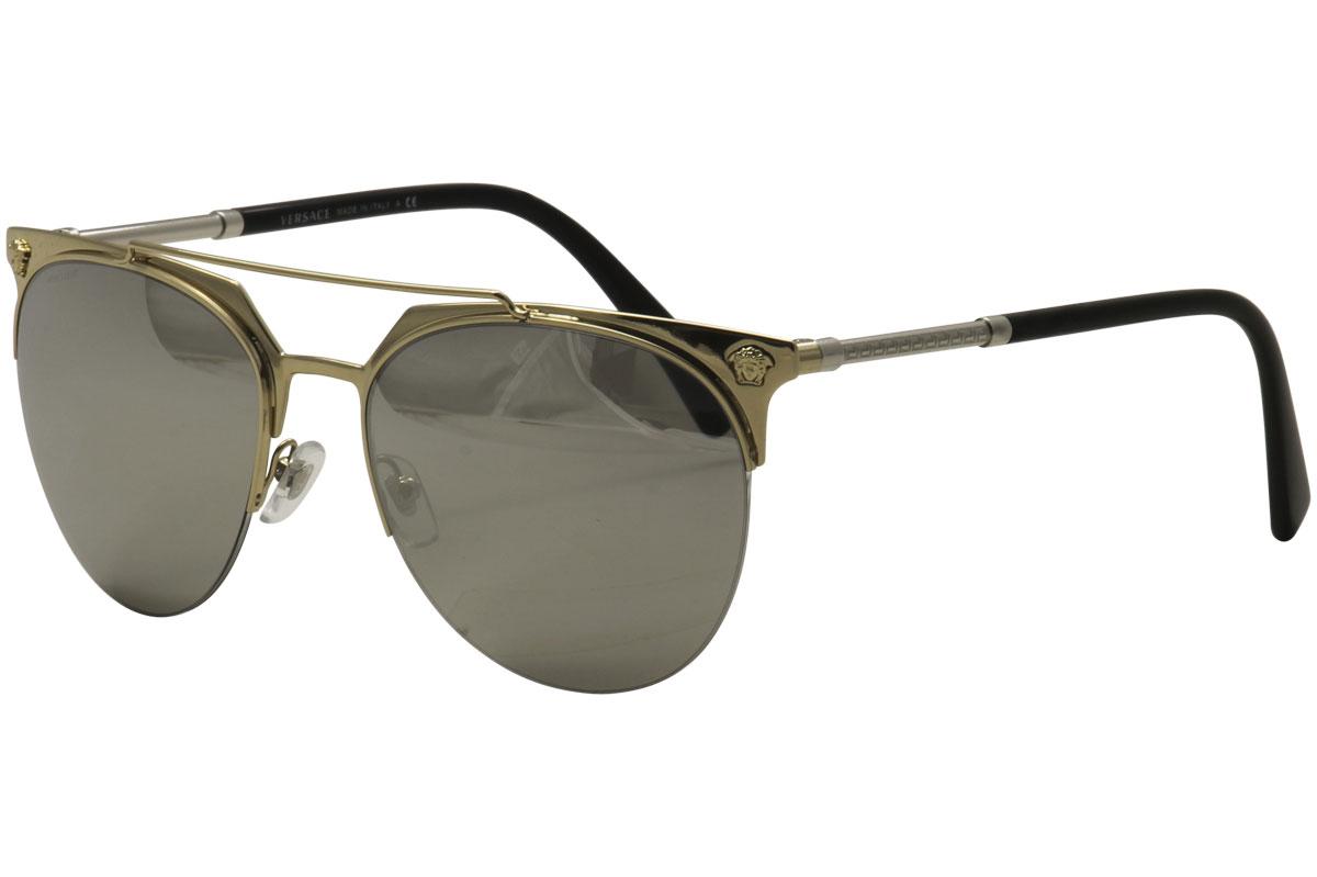 Versace Men s 2181 1252 6G Pale Gold Silver Round Sunglasses 57mm ... 9d6bdc111d