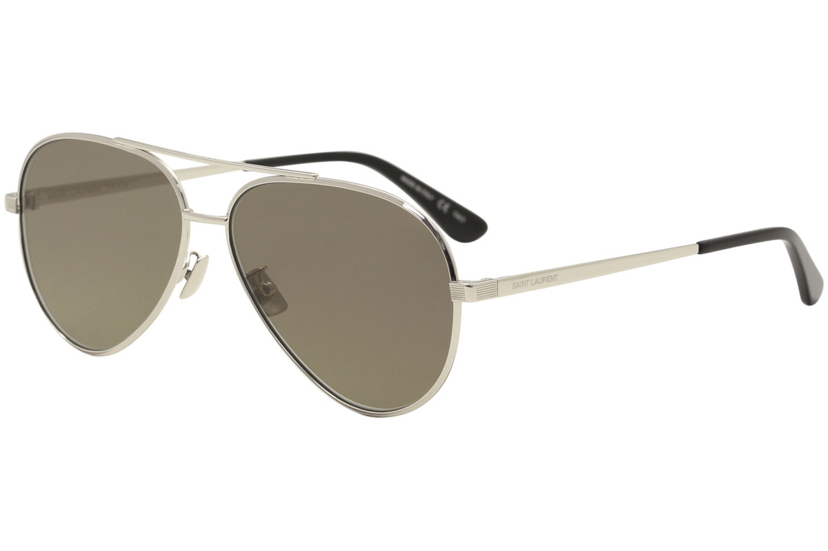 a7be6069ff4 Saint Laurent Women s Classic 11 Zero 001 Silver Pilot Sunglasses ...