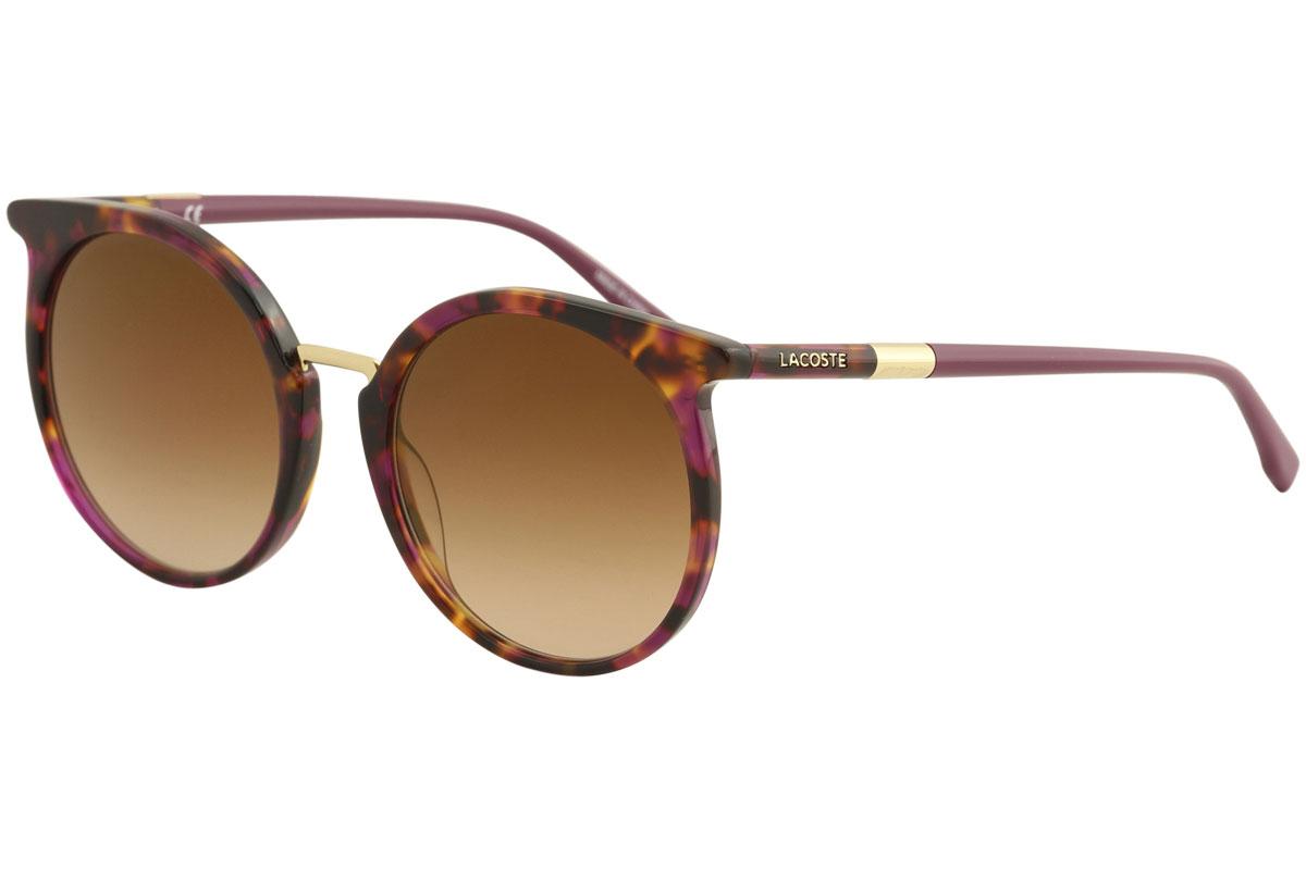 b818c8aa0a Lacoste Women s L849S L 849 S 215 Cyclamen Havana Round Sunglasses ...