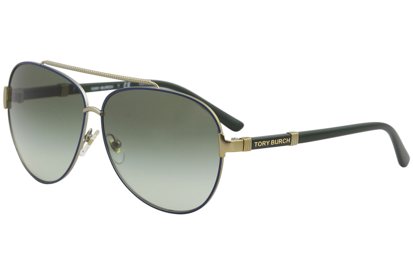 98a2ed5b49b Tory Burch Women s TY6056 TY 6056 3058 8E Navy Gold Pilot Sunglasses ...