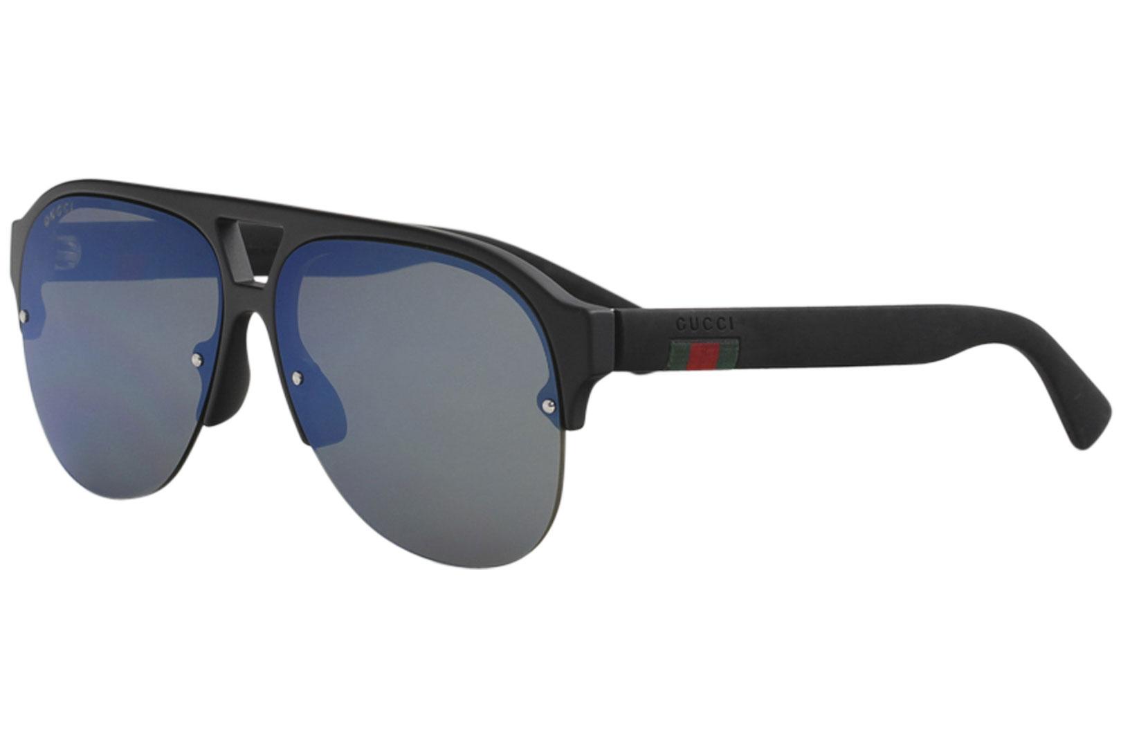 06a78b1a1 Gucci Men's Urban GG0170S GG/0170/S 002 Black/Blue Flash Pilot ...